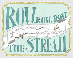 Row Row Row Your Boat Nursery Typography Printable Print  -- INSTANT DOWNLOAD -- 8 x 10 --Nursery Art Print, $10
