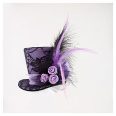 Purple Mini Top Hat,Mad Hatter hat, Wedding hat, Burlesque hat, Alice... ❤ liked on Polyvore featuring hats, steampunk and accessories