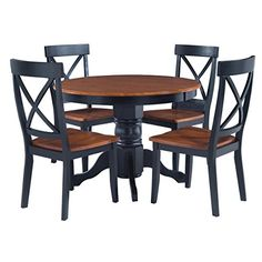 Modern Retro Style Wooden Accent 5-Piece Dining Set | 4 Armless X-Back Chairs, Round Shaped Table | Black and Oak Finish, Home Decor (Set of 5) - Includes Modhaus Living Pen