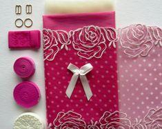 Fun Pink Dotty Lace Bra Making Kit. Inc Fabric and Notions. Small/Medium Sizes