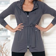 Modern Belted Jacket - Jockey Person to Person Fall/Winter 2012  With a sporty drawstring funnel collar and a belt than can be pulled tight or worn loose and long, this generous jacket is a great longer piece to wear with leggings and jeans.  www.myjockeyp2p.com/eduncan