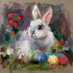 "Daily Paintworks - ""Hide and Seek"" - Original Fine Art for Sale - © Marcia Hodges Easter Paintings, Animal Paintings, Bunny Painting, Cottage Art, Rabbit Art, Easter Art, Bunny Art, Illustrations, Painting Inspiration"