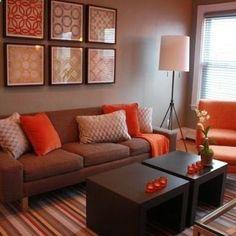 decoração sala detalhes laranja - Pesquisa Google