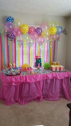 Ashtyns 7th Birthday party table that I made. Her cake was 3 shopkins stacked on…