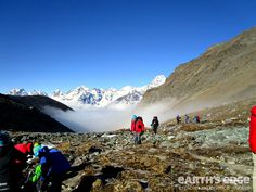 Earth's Edge are the only adventure travel company in the world who send an international guide and doctor on all trips while keeping group sizes small Adventure Travel Companies, Mother Goddess, Small Group Tours, Rivers, Nepal, Trek, Scenery, Mountain, Base