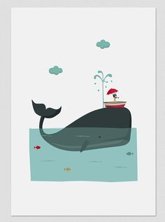 Illustration. Big blue whale. Print. Wall art. Art decor. Hanging wall. Printed…