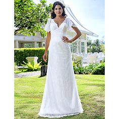 Lanting+Sheath/Column+Plus+Sizes+Wedding+Dress+-+Ivory+Sweep/Brush+Train+V-neck+Lace+–+USD+$+159.99