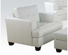 Acme Platinum White Bonded Leather Chair 15097B