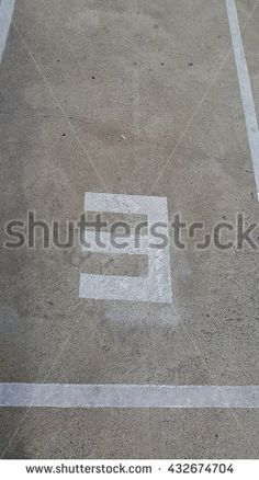 Concrete floor with number three with light and shadow - stock photo