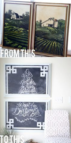 DIY Home Decor | Check out how these thrift store picture frames were turned into a gorgeous Greek key chalkboard!
