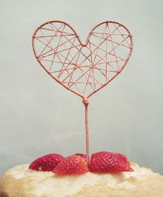 how to make a diy string art heart cake topper!