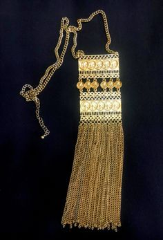 India Fashion Jewelry Ethnic Gold Pendant Longer necklace Sexy Body women 19"
