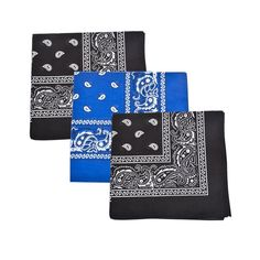 Set of 3 Mechaly Paisley 100% Cotton Black & Royal Blue Vegan Bandanas