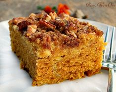 Pumpkin Cream Cheese Coffee Cake.. Pumpkin, cream cheese, pecans and brown sugar. Moist and delicious!