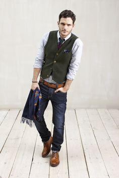 Joules Mens Herringbone Tweed Waistcoat