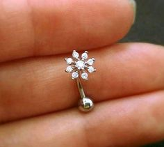 16g CZ Snowflake Belly Button Ring rose gold by ShopOrigamiJewels
