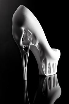 The Biomimicry Printed Shoe, designed by Dutch fashion designer Marieka Ratsma in collaboration with Kostika Spaho, was inspired by a bird skull. Crazy Shoes, Me Too Shoes, Weird Shoes, Ugly Shoes, Talons Sexy, Skull Shoes, 3d Mode, Shoe Boots, Shoes Heels