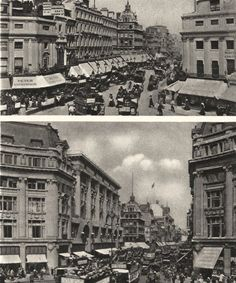 LONDON/TOWNS: What has happened to the Oxford Circus of Nash and the Regency ; Vintage photographic book illustration, 1926; approximate size 20.5 x 17.0cm, 8 x 6.75 inches