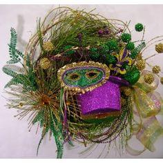 Mardi Gras Wreath - Masked Hat Wreath $149