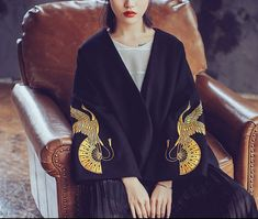 Fine Art Collection Japanese black woolen golden crane and fan hand embroidery spring/autumn kimono outwear limited edition