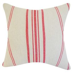 The Pillow Collection Stripe Decorative Pillow - Art - RED