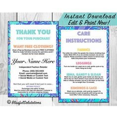 LuLaRoe Care Cards - Thank You Cards - Return Cards - Care Instructions for Fashion Consultants - Customize - DIY - Edit - Print - Post 4x6 by BlissfulSalutations on Etsy