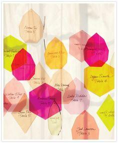 hanging geometrical escort cards on vellum paper