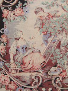 Antique French fabric toile fabric c1860 rococo design