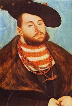 Lucas Cranach d. Ä.  Porträt des Johann Friedrich, Kurfürst von Sachsen. 1531, Öl auf Holz, 51 × 37 cm. Paris, Musée du Louvre. Deutschland. Renaissance.  KO 02675