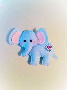 Blue Felt Elephant Plush Ornament by BeckyLynnCreations on Etsy
