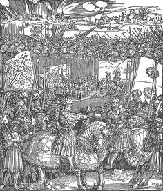 Albrecht Dürer — The Meeting after the Battle of the Spurs, Triumphal Arch in Barcelona 'Ehrenpforte', National Museum, Nuremberg. Albrecht Durer Paintings, Albrecht Dürer, Maximilian I, Landsknecht, Web Gallery, Triomphe, Renaissance Art, National Museum, 16th Century