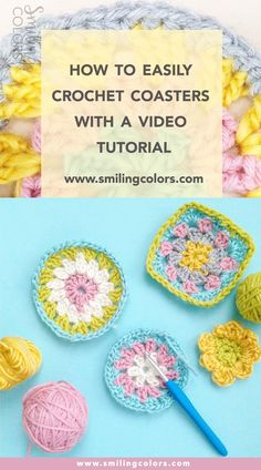 Yarn scrap project, How to make a granny circle, Changing Colors in a granny square, DIY crochet coasters- video tutorial included! @smithakatti