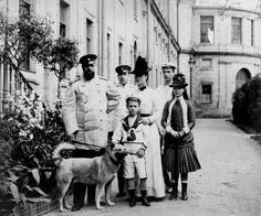 The family of Tsar Alexander II. :  From left to right: Tsar Alexander III, Tsarevich Nicholas Alexandrovich, Tsarina Maria Feodorovna, (front) Grand Duke Michael Alexandrovich, (behind) Grand Duke George Alexandrovich and Grand Duchess Xenia Alexandrovna
