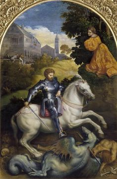 Paris Bordone (Bordon) - Saint George slaying the dragon George & Dragon, Saint George And The Dragon, Patron Saint Of England, Baroque Painting, Saint Georges, Religion Catolica, Knight Armor, Dragon Slayer, Medieval Armor