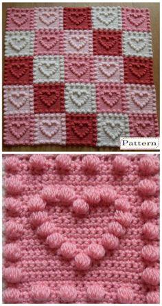 Crochet Bobble Heart Pattern Granny Square Video Tutorial #knittingpatternseasy