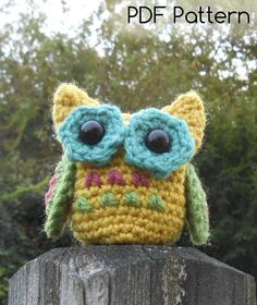 Little Owl CROCHET PATTERN Amigurumi by TeaTimeYarnDesign  Great stash buster. Perfect decoration for fall.