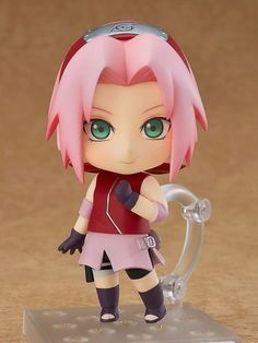"""Team revived in Nendoroid size! From the popular anime series """"Naruto Shippuden"""" comes a Nendoroid of Sakura Haruno! She comes with three face plates including a smiling expression, an embarrassed expression as well as her classic """"Chaaaaa! Anime Naruto, Naruto Girls, Naruto Uzumaki, Manga Anime, Sakura Haruno, Naruto Biscuit, Chibi, Anime Figurines, Anime Toys"""