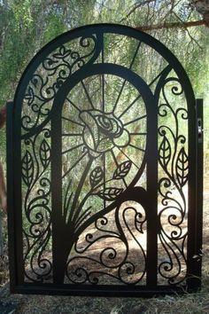 """Metal Gate Art Steel Garden – Fußgängerweg durch Einstiegstore 46 """"x … - Gartentore Art En Acier, Tor Design, Wrought Iron Gates, Metal Gates, Metal Garden Gates, Garden Fences, Steel Art, Door Gate, Heaven's Gate"""