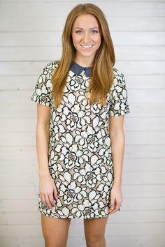 Lace Embroidered Collared Dress #shopmaude www.shopmaude.com