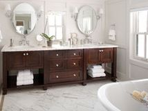 Prevent water damage and get a seamless look with these pro tips for tiling under and around a bathroom vanity