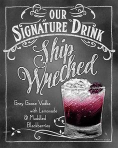 Signature Drink Signs Chalkboard style Prints for by RockinChalk Champagne Cocktail, Signature Cocktail, Cocktail Drinks, Cocktail Book, Bar Drinks, Yummy Drinks, Alcoholic Drinks, Beverages, Drink Signs