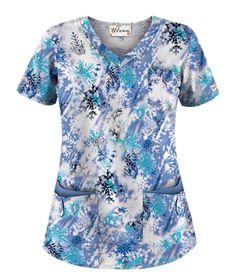 117dd1744c9 UA Snow Flurry Ceil Print Scrub Top Style # H638SNC #uniformadvantage  #uascrubs… White