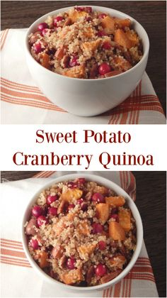 Sweet Potato Cranberry Quinoa. Switch up your Thanksgiving spread with this sweet quinoa recipe that has all of the coziness of the holidays!