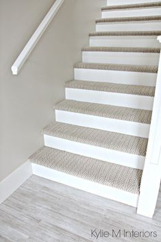 Stairs with carpet herringbone treads and painted white risers, looks like a runner. Benjamin Moore Edgecomb Gray on stairwell wall. Kylie M Interiors E-Design carpet The 3 Best NOT BORING Paint Colours to Brighten Up a Dark Hallway Carpet Staircase, Basement Carpet, Staircase Remodel, Basement Stairs, Basement Ideas, Hallway Ideas, Stairs Flooring, Basement Bathroom, Paint Colors