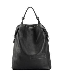 #AdoreWe #StyleWe Actinometer Black Large Simple Solid Cowhide Leather Backpack - AdoreWe.com
