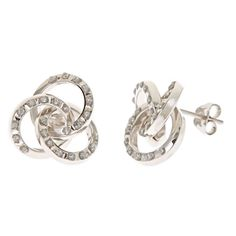 Let's all help create jobs here in America by buying American made! 14K White Gold Diamond Accent Love Knot Studs #keepamerica