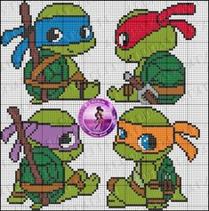 Cute idea for Cross-stitch Baby Ninja Turtles. no color chart available, just use pattern chart as your color guide. TMNT perler bead pattern by Drayzinha Hama Beads Patterns, Beading Patterns, Embroidery Patterns, Knitting Patterns, Cross Stitch Baby, Cross Stitch Charts, Cross Stitch Patterns, Cross Stitching, Counted Cross Stitches