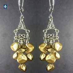 ♥ Elegant Satin & Lustrous Gold Czech Glass Petals & Plated Silver Earrings