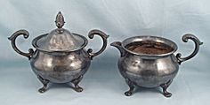 Epca Bristol Silver 110 - Covered Sugar & Creamer, Footed
