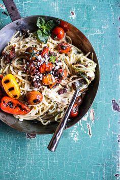 20 Minute Mediterranean Hummus Noodles with Blistered Cherry Tomatoes | halfbakedharvest.com @hbharvest
